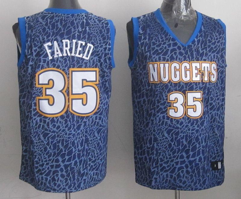 Men's NBA Denver Nuggets #35 Faried Crazy Light Swingman Blue Jersey