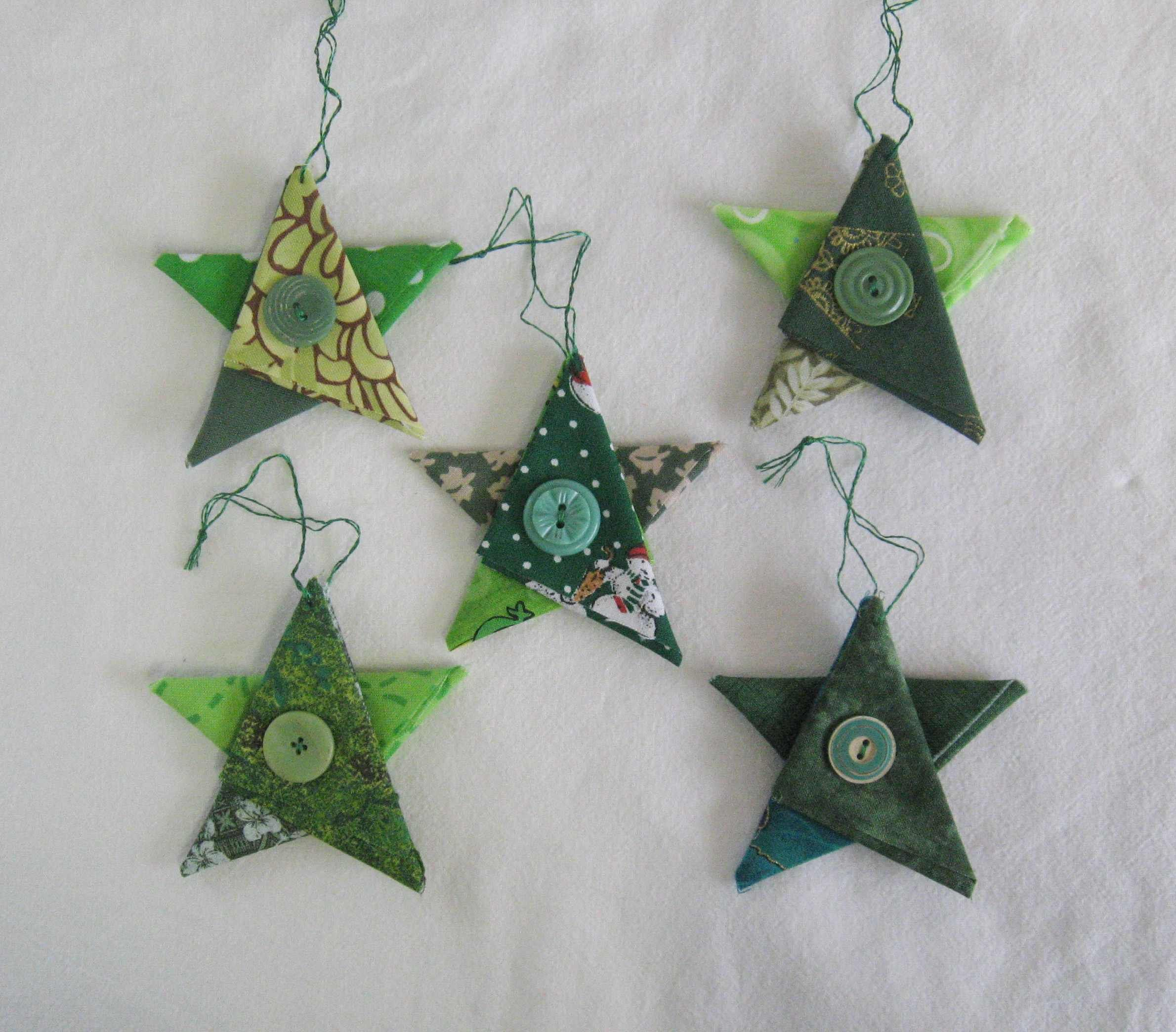 Green Star ornaments, Christmas ornaments, fabric star