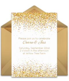 Online invitations from wedding anniversary engagement and bridal customizable free golden day online invitations easy to personalize and send for a party filmwisefo Image collections