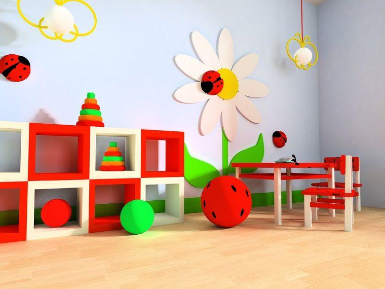 flor preciosa decorando la pared en la habitacin para juegos diseo