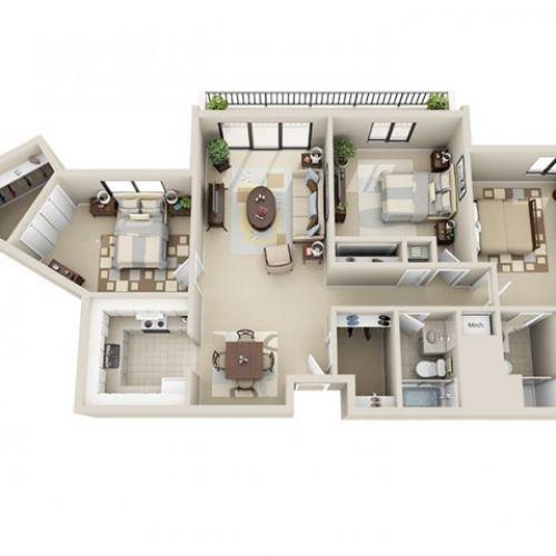 3D Floor Plan Image 1 For The 3 Bedroom Floor Plan Of Property Gorgeous 3 Bedroom Apartment Design Inspiration Design