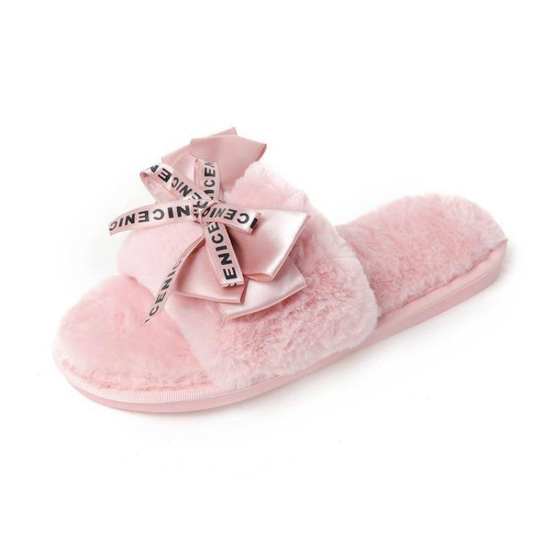Photo of Women Plush House Home Slippers Faux Fur Warm Shoes Woman Slip on Flats Cute Bowtie Female furry Sli