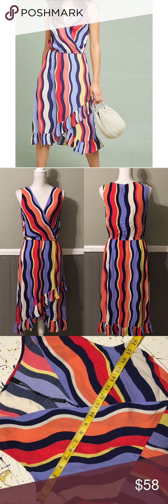 ae4ee4f4d8d ANTHRO Plenty by Tracy Reese Daphne Wrap Dress Size M  Has small stains. (