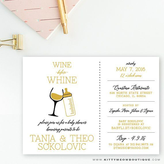 Gold White Whine And Wine Gender Neutral Baby Shower