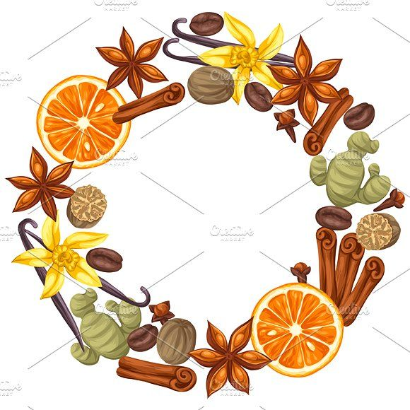 Designs With Various Spices Tea Art Spice Image Spice Logo
