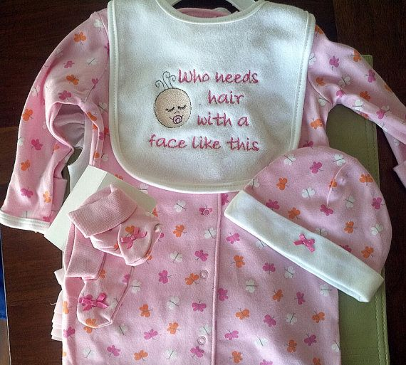 Personalized Baby Girl infant gown set by EmbroiderybySharon - $23.00