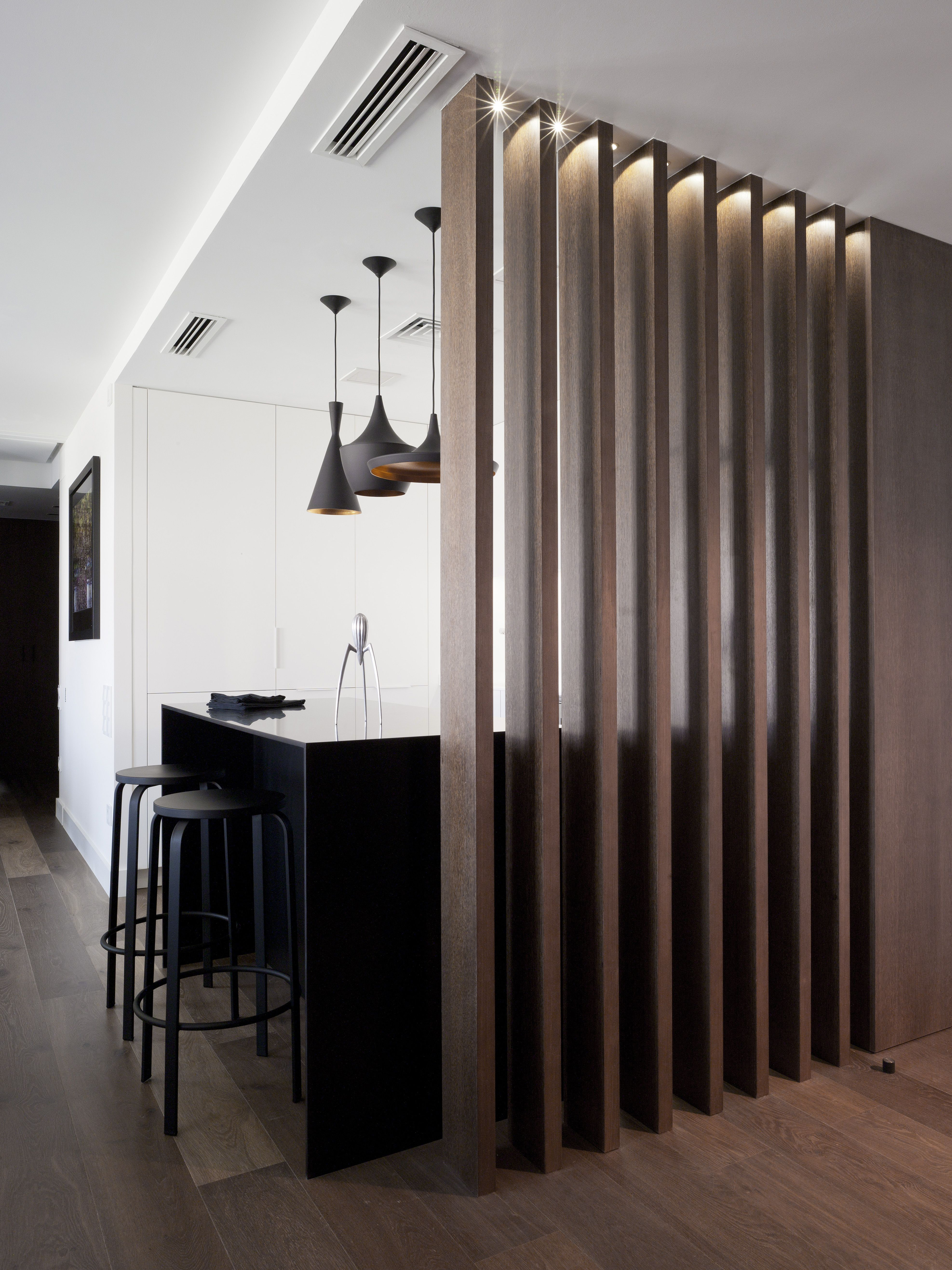 Wood fin wall. | Wall Divider | Pinterest | Screens, Doors and Studio