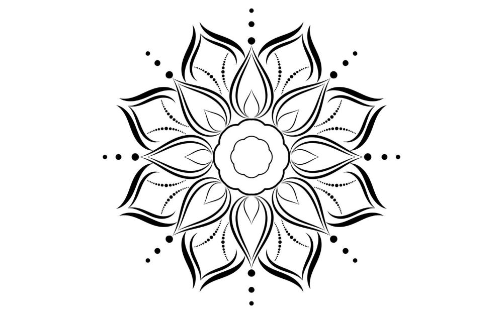 Black and white floral simple mandala pattern   Mandala ...