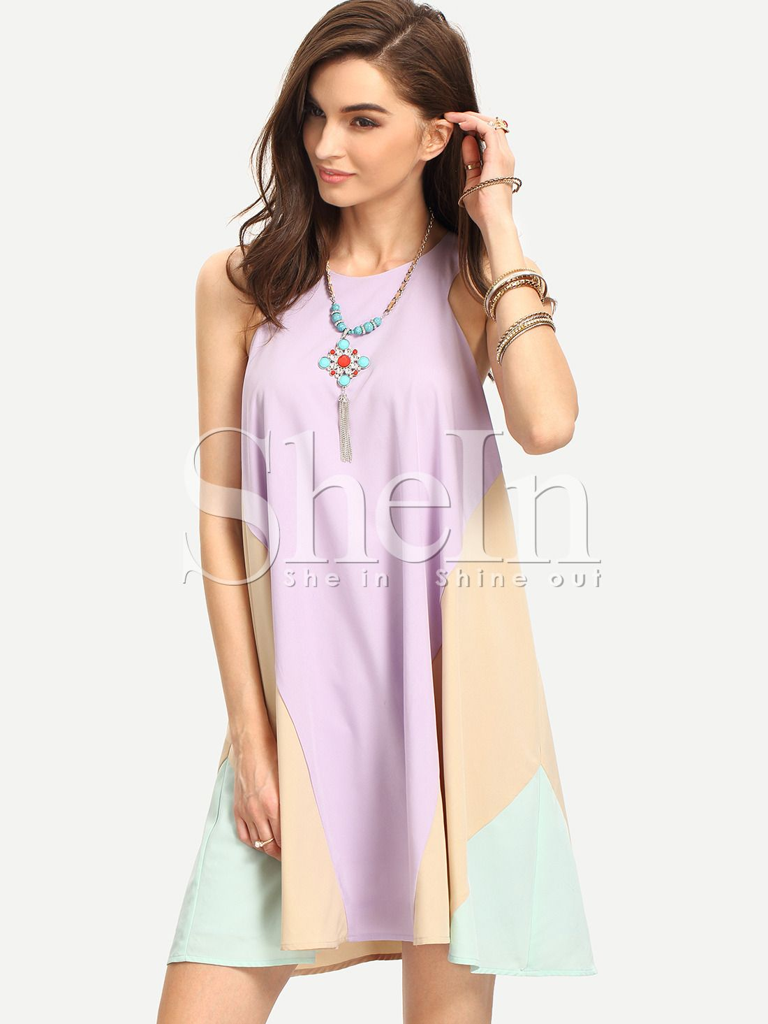 Purple+Bib+Neck+Colorblock+Flowy+Dress+18.99