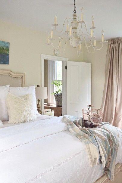 Modern Farmhouse Bedroom Neutral Master Chandelier Shabby Chic Plaid