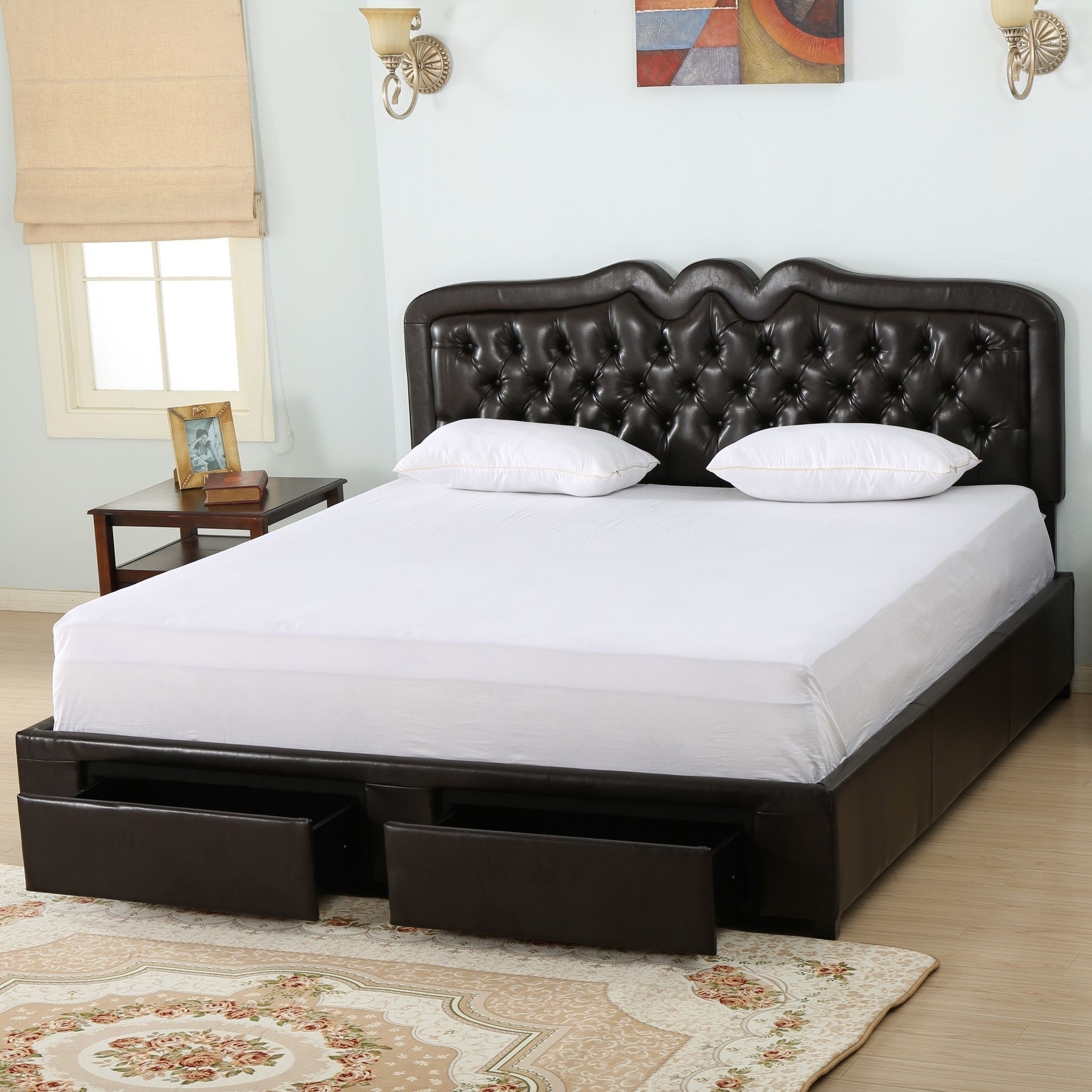 Selle brown leather queen bed set w drawers products pinterest