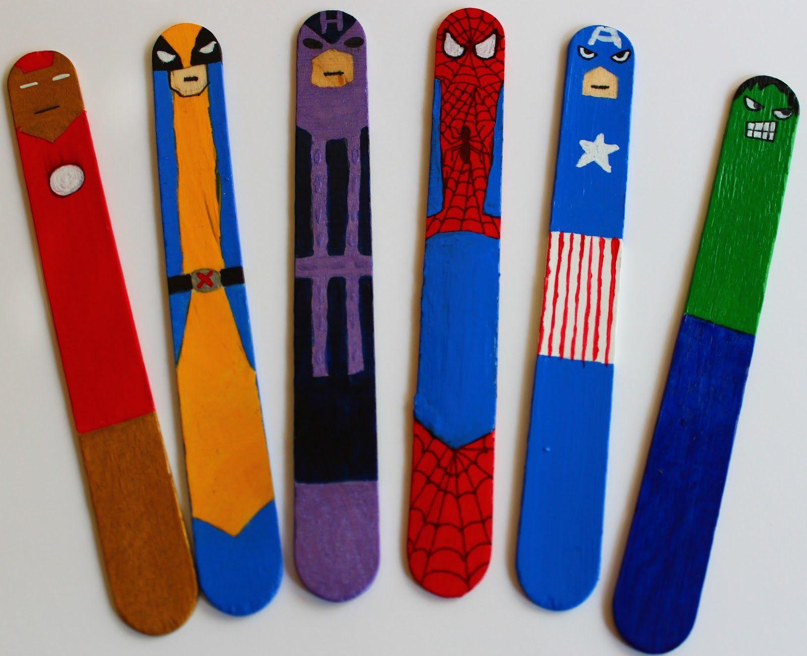 Superhero Crafts - Google Camp Craft Stick Kids Popsicle