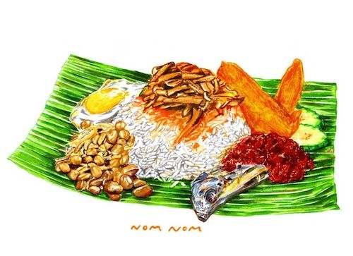 Nomnom Nasi Lemak Makanan Seni Illustration
