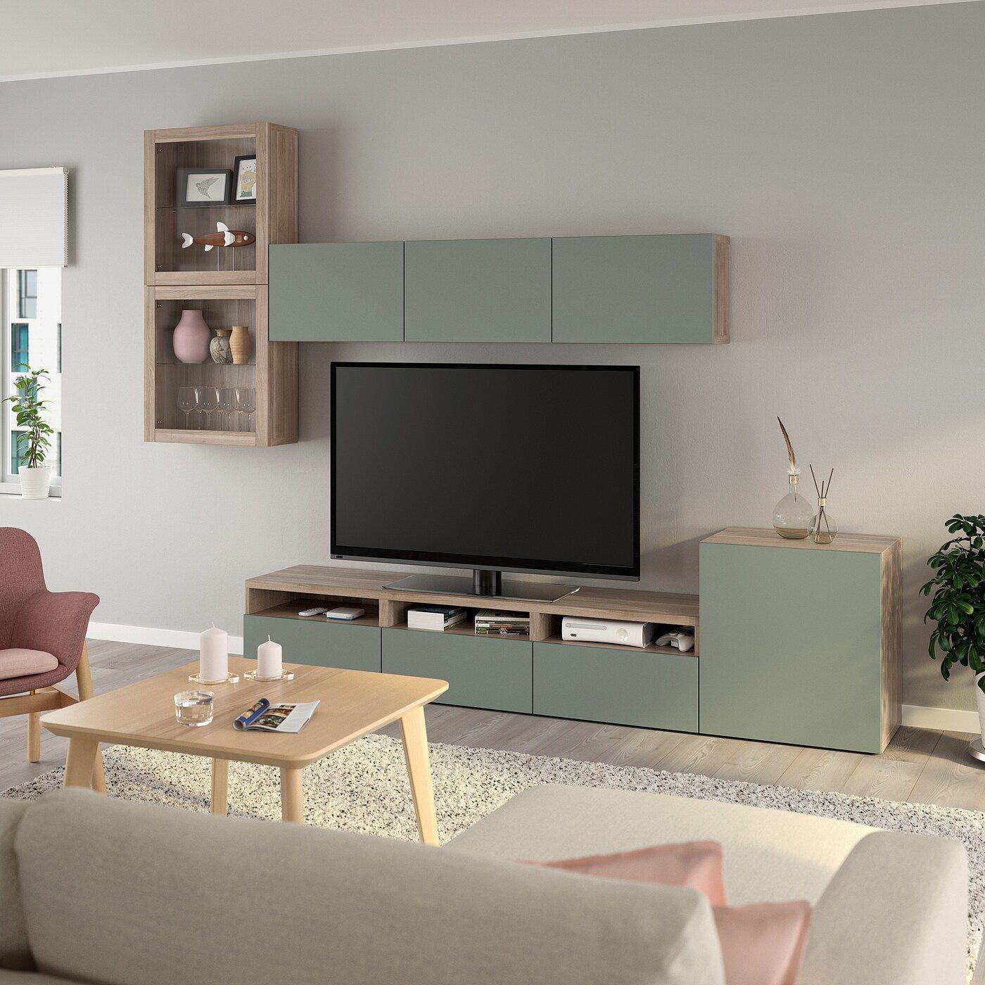 Ikea Besta Agenc Rangt Tele Vitrines Effet Noyer Teinte En 2020 Idee Meuble Tv Meuble Tv Deco Moderne Salon
