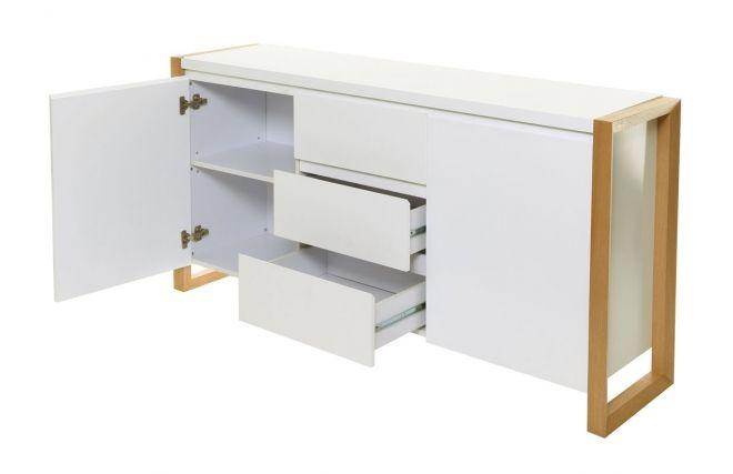 Buffet design 2 ante 3 cassetti bianco ARMEL  - Dos