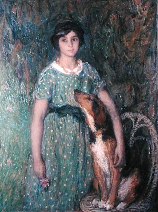 Edmond François Aman-Jean ~ Young Girl with Dog ~ (French: 1858-1936)
