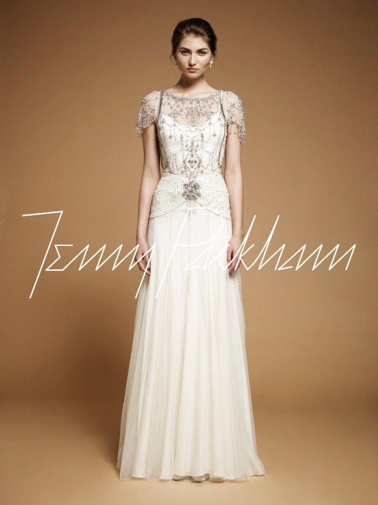 Vintage style wedding gown jenny packham damask vintage art deco