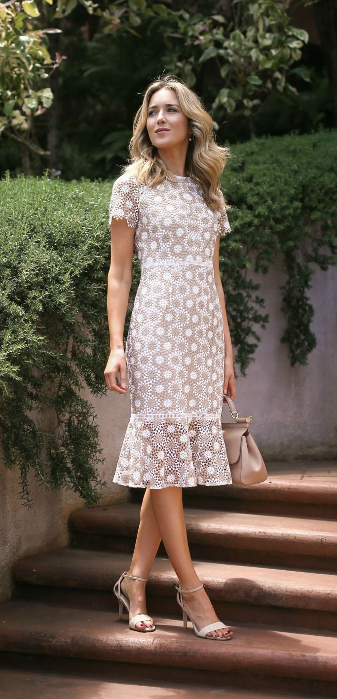 Tan and white round disc lace fit and flare sheath dress + white
