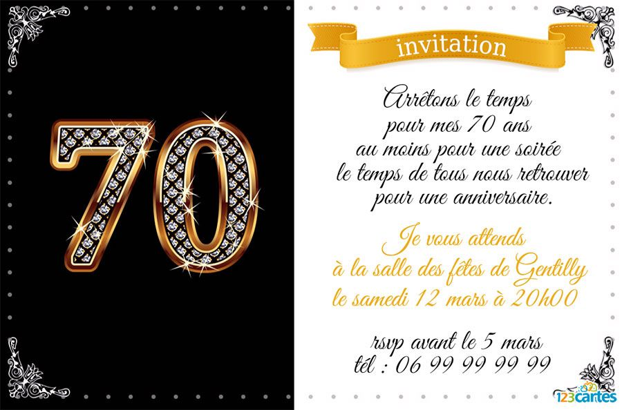 invitation anniversaire avec le chiffre 70 en or et. Black Bedroom Furniture Sets. Home Design Ideas