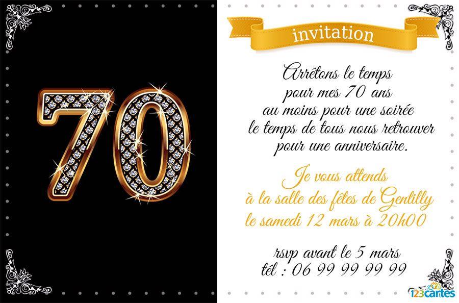 carte d invitation anniversaire 70 ans gratuite à imprimer 70ans diamants | Invitation anniversaire 60 ans, Invitation