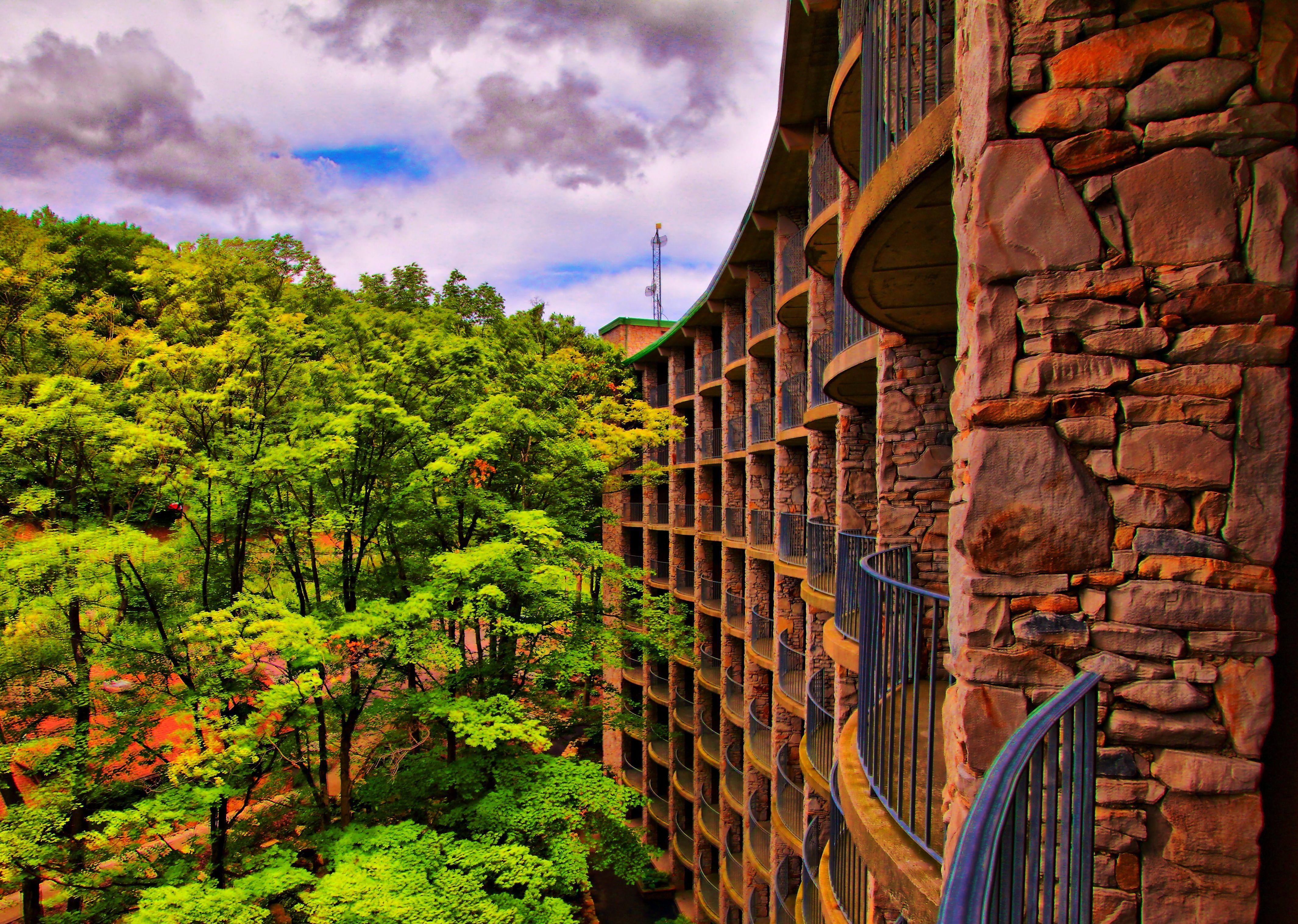 Seven Springs Mountain Resort hotel exterior on a summer ...