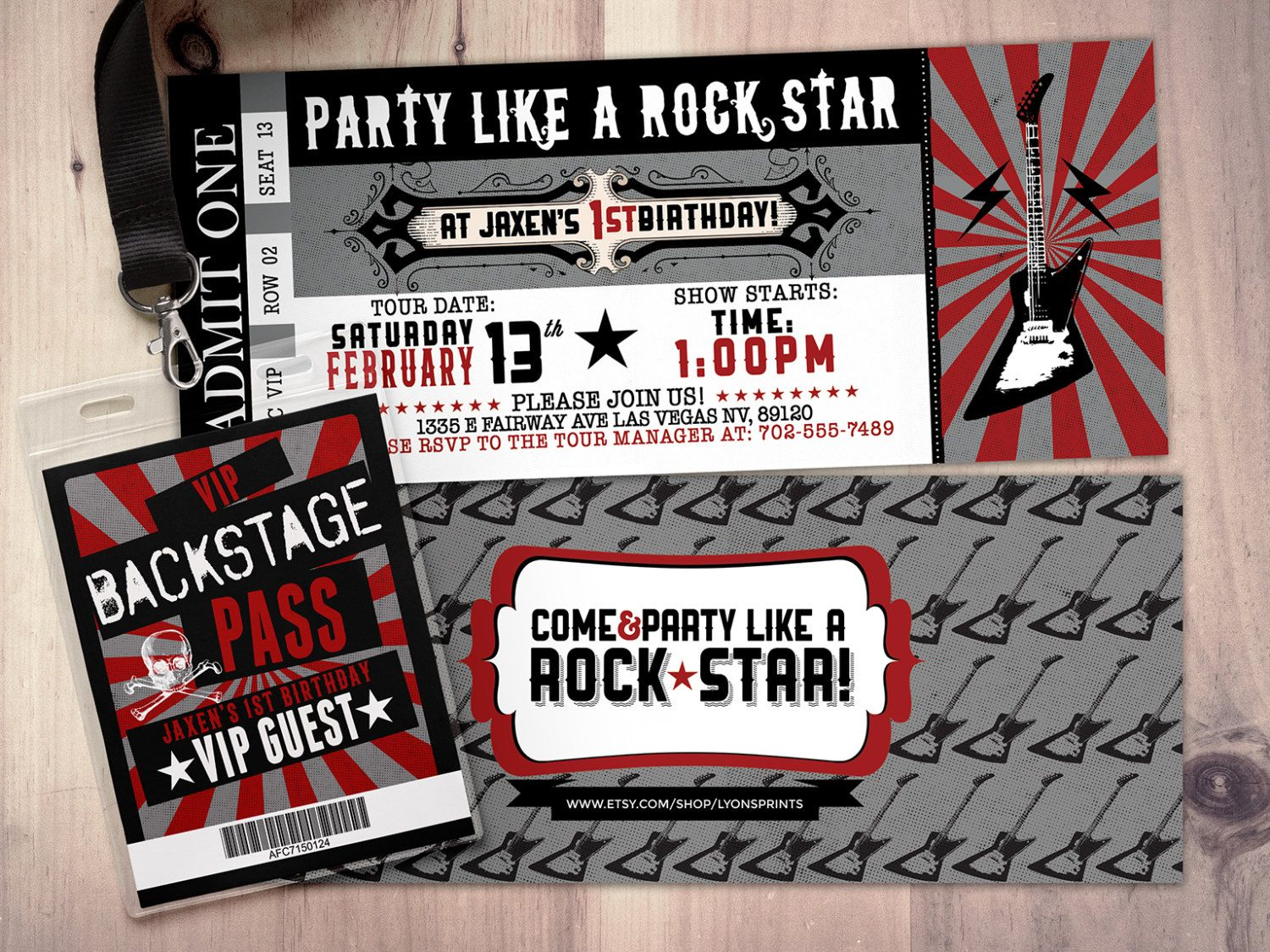 movie ticket stub wedding invitation%0A ROCK STAR concert ticket birthday party invitation by LyonsPrints