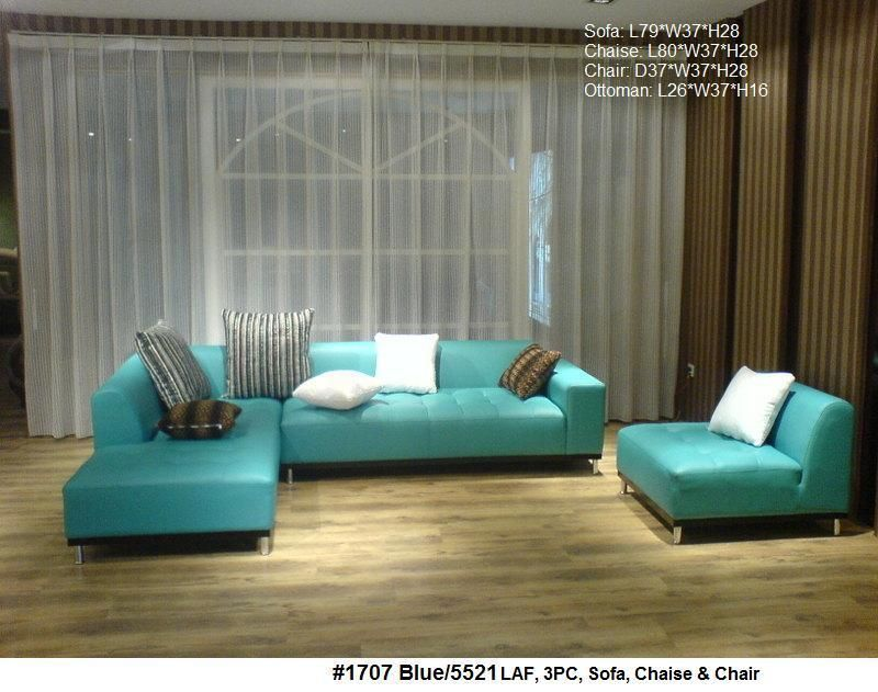 2PC Modern Contemporary Leather Sectional Sofa #1707 In Blue Now This Would  Also Cool That