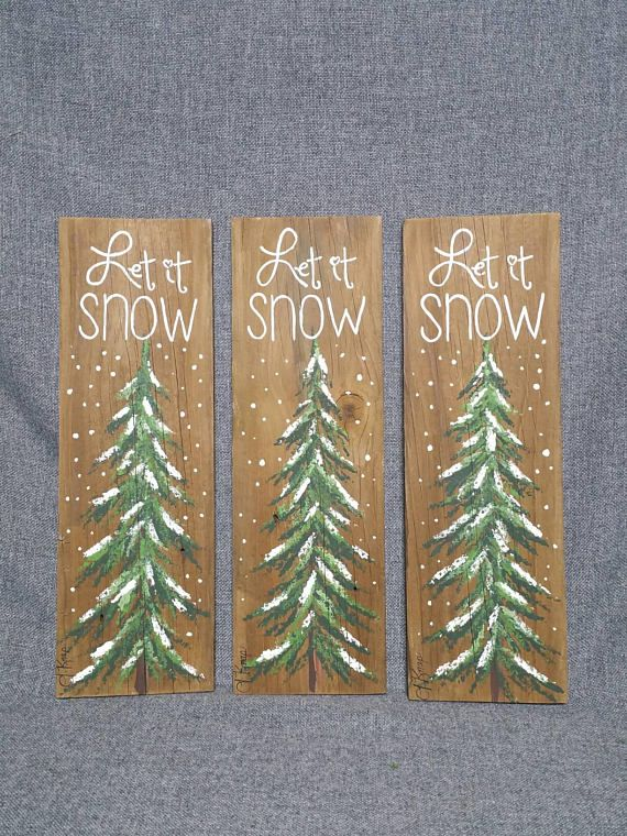 Christmas Winter Reclaimed Wood Pallet Art Let It Snow Hand Painted Pine TreeChristmas Decorations Upcycled Shabby Chic Original Acrylic Painting On