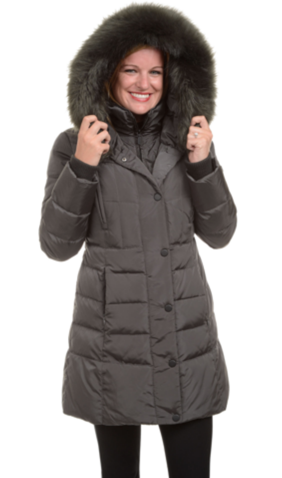 Madison Ladies' Down Coat with Faux Fur Hood and Inner Vest ...