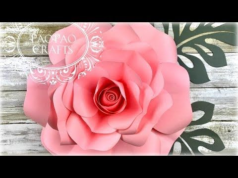Diy Rose Tutorial Large Size Paper Rose Youtube Flowers