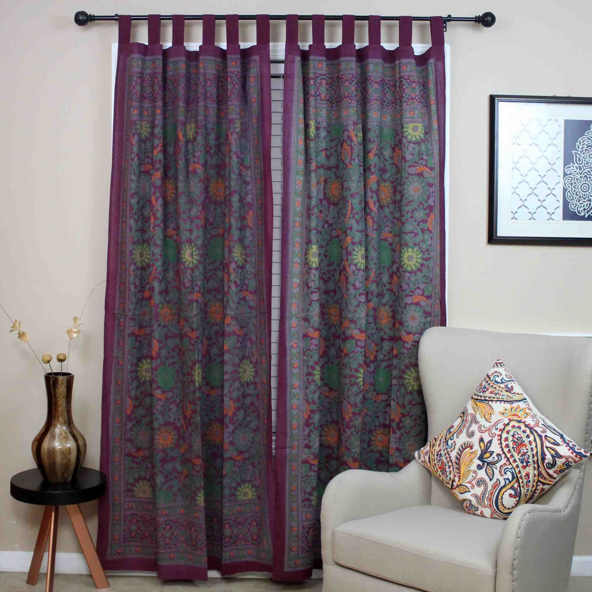 Handmade cotton sunflower tab top curtain drape door panel red