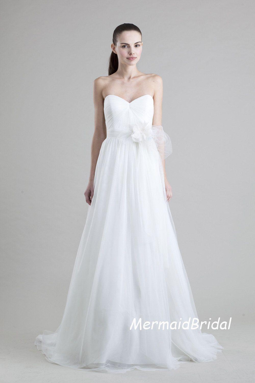 Garden wedding dress simple tulle wedding dress aline wedding