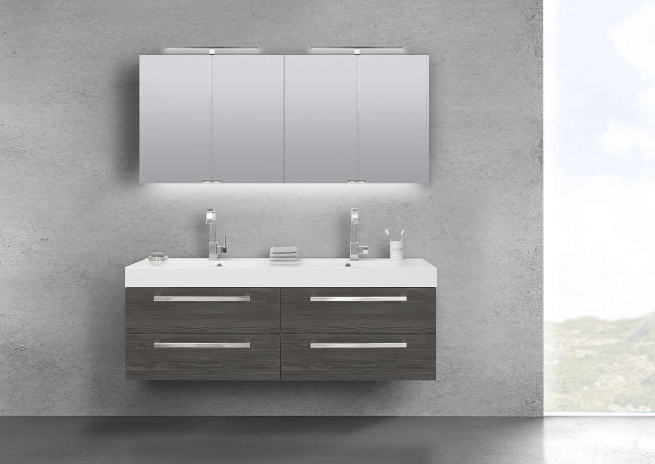 Doppelwaschtisch 160 cm Badmöbel mit Unterschrank, Spiegelschrank ... | {Doppelwaschtisch mit unterschrank und spiegelschrank 37}