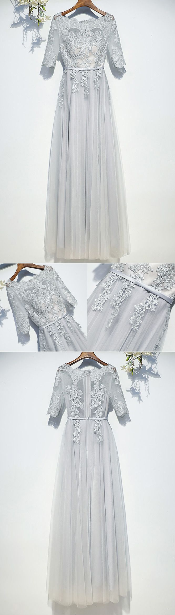 Classy silver flowy long tulle prom dress with short sleeves