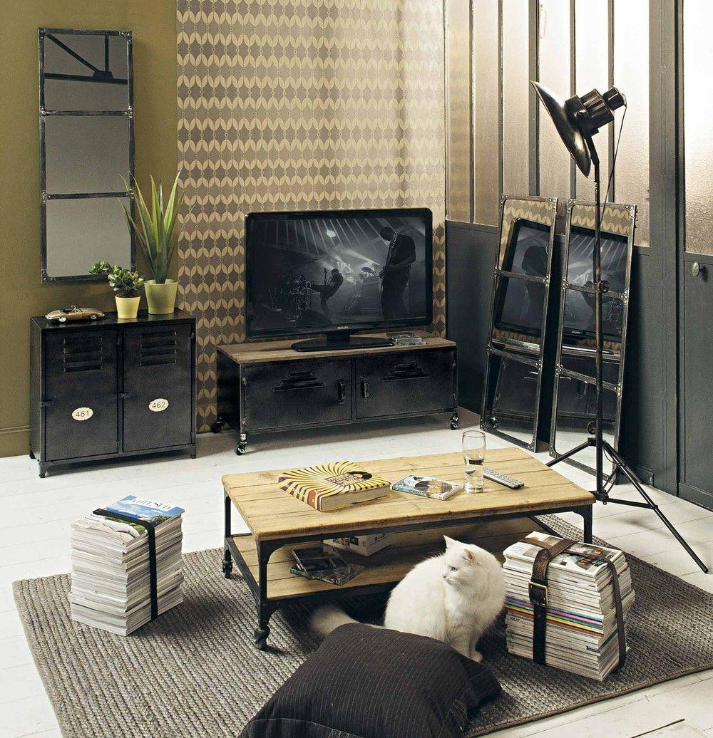 meuble tv indus roulettes noir 115 cm - Meuble Tv A Roulettes Noir