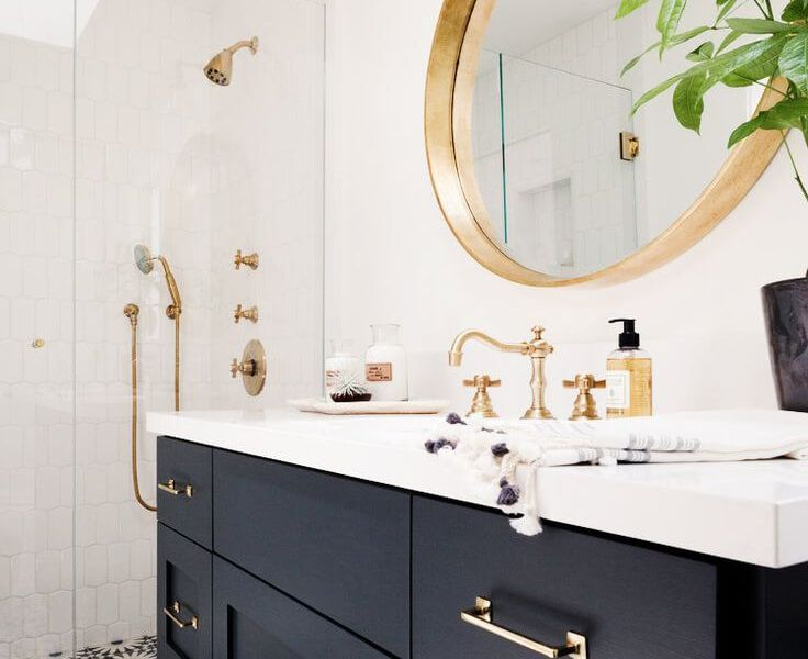 Navy Bathrooms The New Black Black And Gold Bathroom Boho Bathroom Gold Faucet
