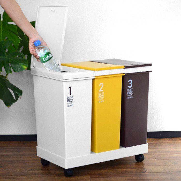 c68744fca7 ポイント最大22倍】。ゴミ箱 分別 資源ゴミ 横型 3分別ワゴン カラー ...