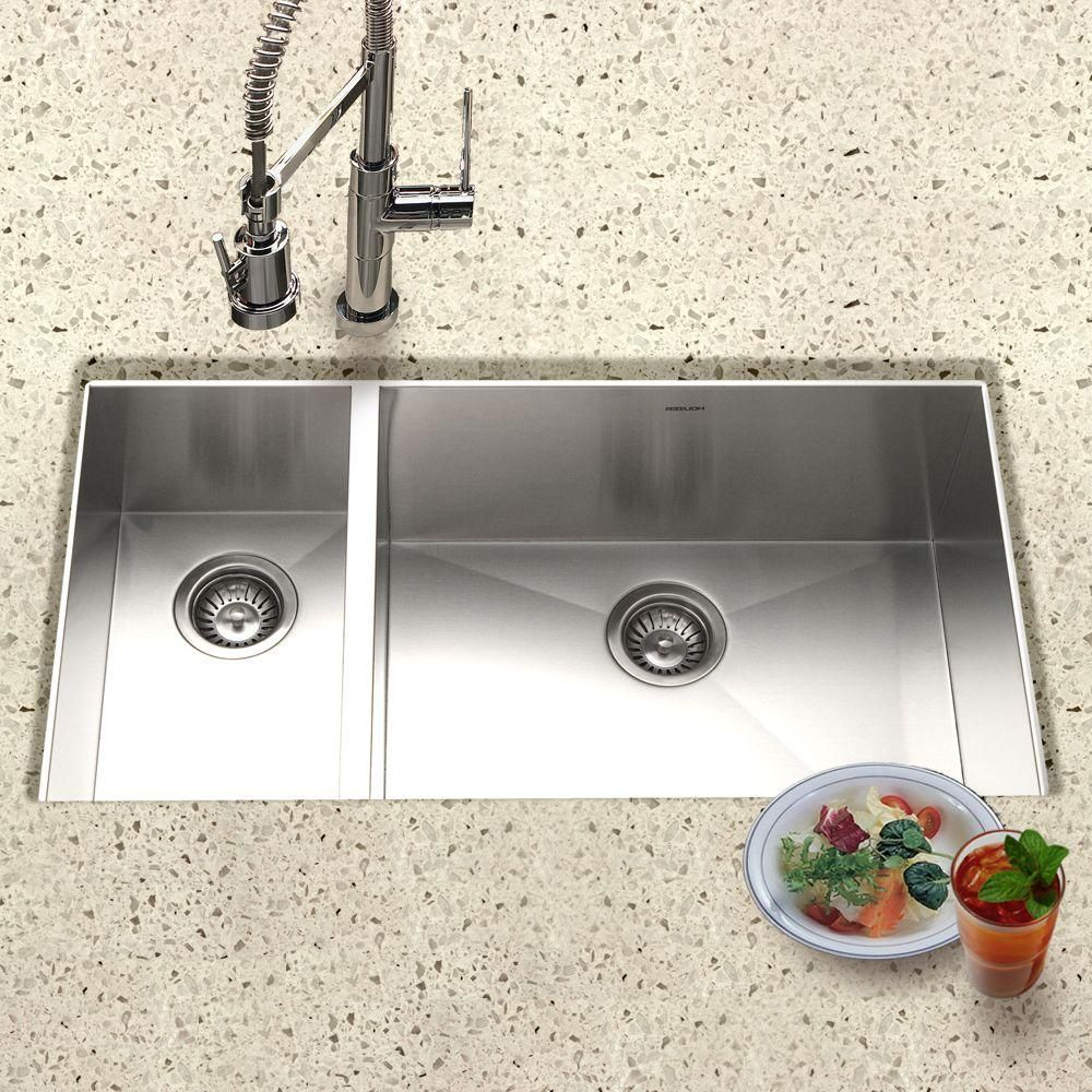 Contempo Series Undermount Stainless Steel 33 in. Double Bowl ...