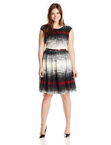 tiana b women's plus-size cap sleeve pleated skirt dress  https