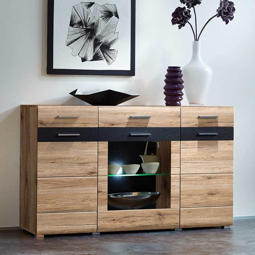 Sideboard Led Beleuchtung | Design Sideboard In Eiche San Remo Schiefer Glas Led Beleuchtung