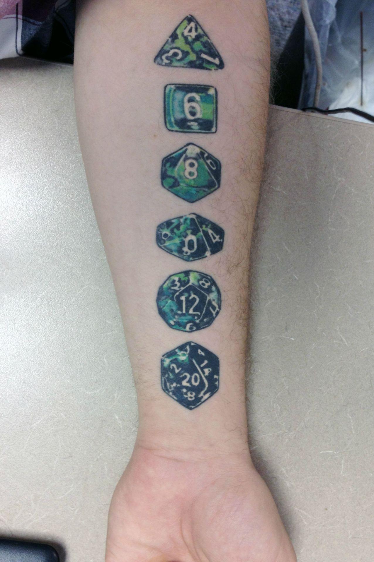Beautiful dice tattoo tattoo dnd nerd illustrated for Nerd tattoo designs