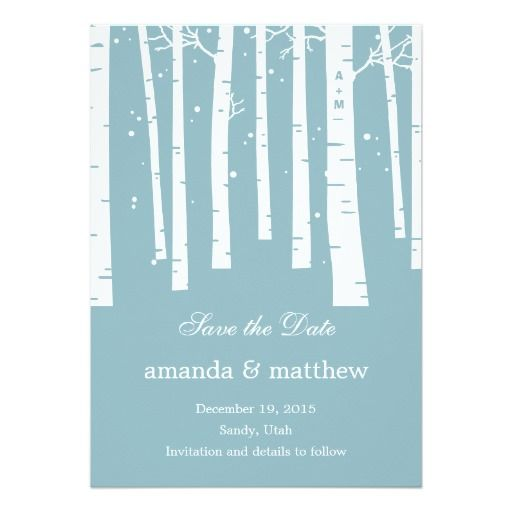 Winter Forest Wedding Save The Date Cards Invites