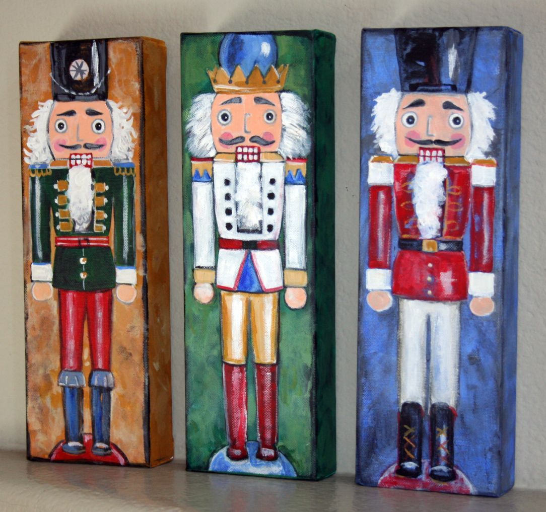 Nutcracker Painting Nutcracker Trio 4 X 12 Acrylic On Canvas Christmas Paintings Christmas Canvas Christmas Paintings On Canvas