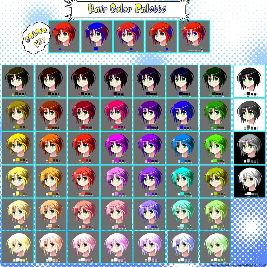 Hair Color Palette by Anime