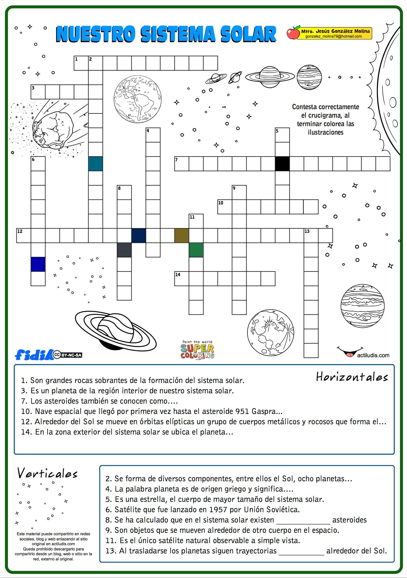 Crucigrama de nuestro sistema solar - Actiludis | Ciencias sociales ...