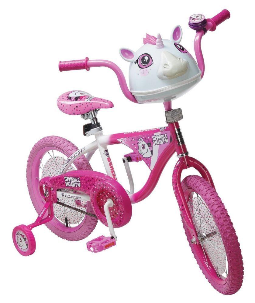 Girl S Pink White Unicorn Bike W Matching Helmet Training Wheels 5 Raskullz 16 Unicorn Bike Childrens Bike Bike
