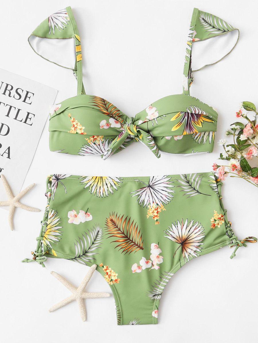 e781a3e58b Shop Leaf Print Ruched Bikini Set online. SheIn offers Leaf Print Ruched Bikini  Set & more to fit your fashionable needs.