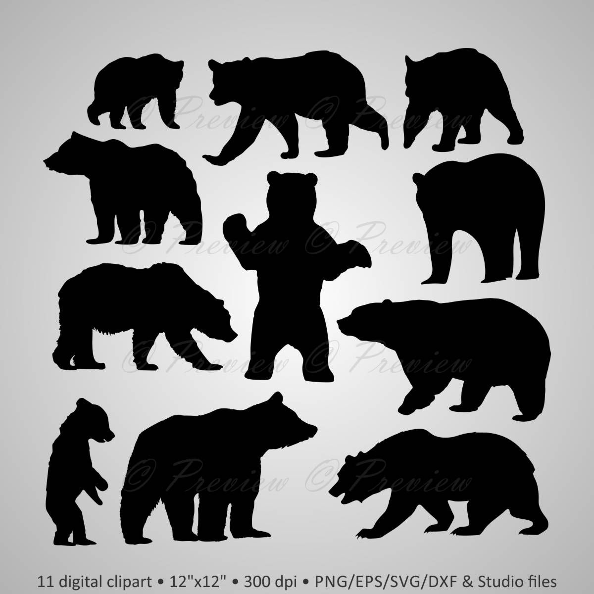 Buy 2 Get 1 Free! Digital Clipart Bear Silhouettes, forest wild ...