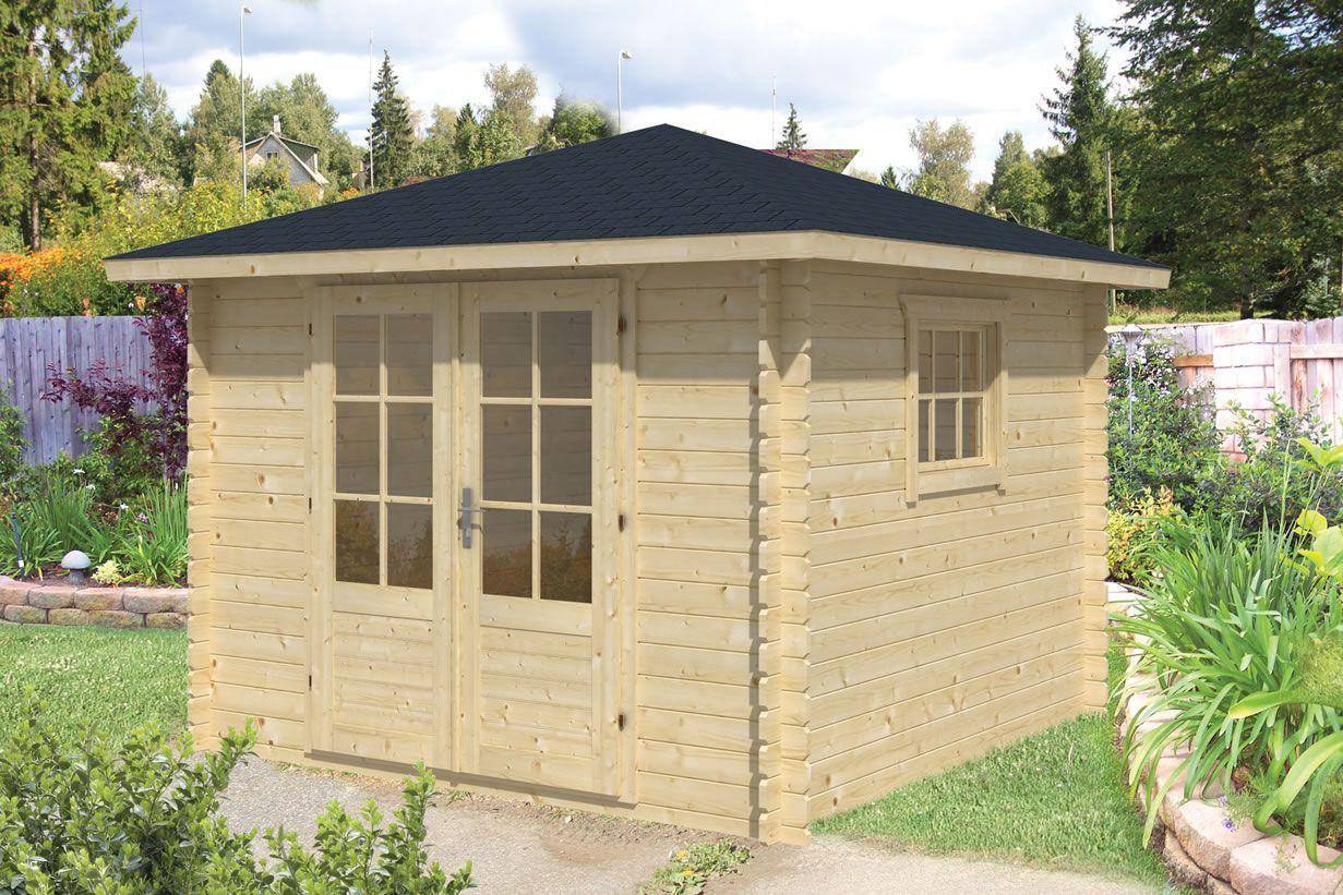 Halvar Pyramid Roof Log Cabin 3x3m Gartenhaus, Walmdach