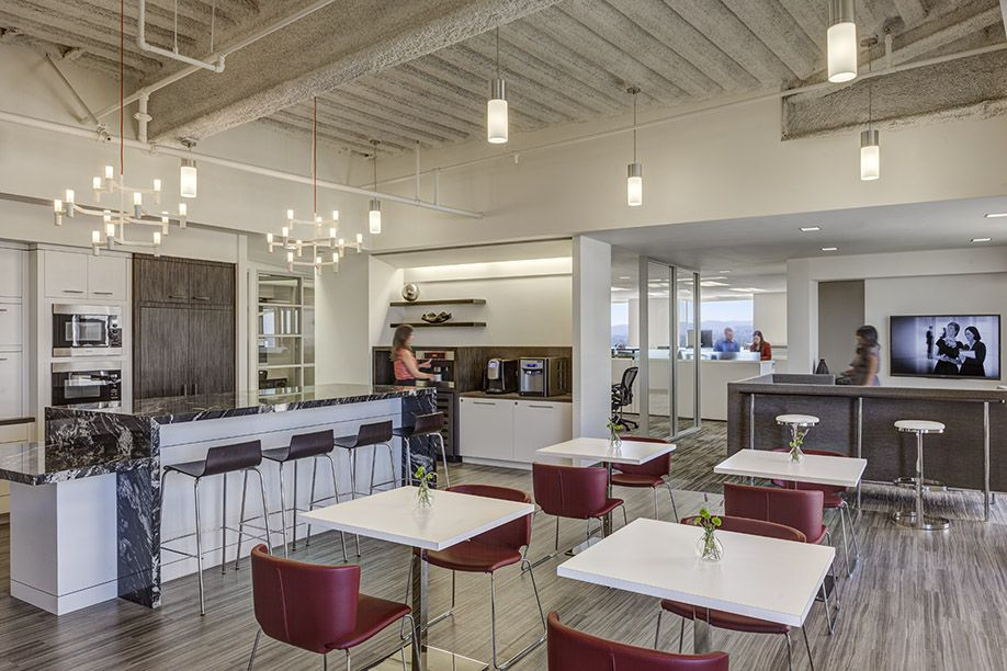 Lunch room multi use room corporate interior design by h for Office lunch room design ideas